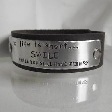 "Fabulous Handmade ""Life is short...SMILE..."" Leather Statement Cuff Unique Gift"